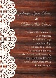 Customized Wedding Invitations Vintage Wooden Background Lace Printed Wedding Invitations Ewi269
