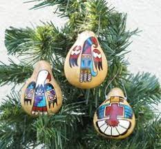 hand painted gourd christmas ornament by artist sandy short