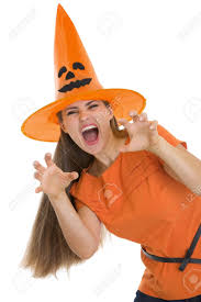 cowboy hat halloween woman in halloween hat making scaring pose stock photo picture
