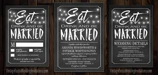 eat drink and be married invitations chalkboard wedding invitations vintage rustic wedding invitations