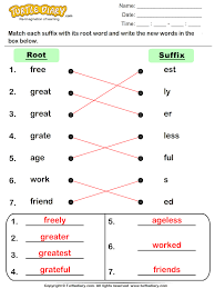root word and suffix match worksheet turtle diary