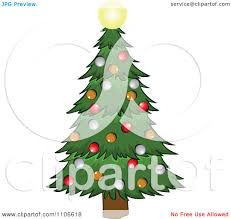clipart christmas tree and glowing star royalty free vector