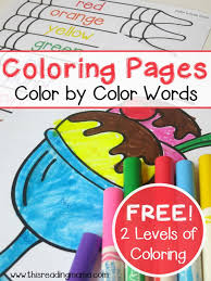 simple color words coloring pages