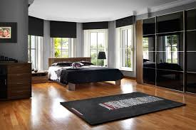 interior black bedroom roman blinds with wooden bedding square