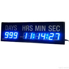 blue led countdown clock in days hours minutes seconds every