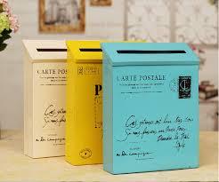 Yellow Decorative Box Small Suggestion Box With Lock Tin Trunk Wall Mailbox American
