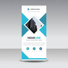 blue square creative roll up banner template vector free download