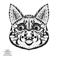 zentangle stylized cat sketch for tattoo or t stock vector
