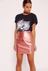 petite faux leather metallic mini skirt pink missguided