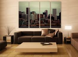 denver city skyline canvas print 4 panels print wall decor wall