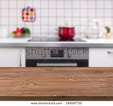 Wooden Table With Bench Wooden Table On Blurred Kitchen Bench Stock Photo 215203330