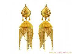 fancy jhumka earrings 22k gold jhumkas 22k gold fancy jhumka earring for meenajewelers