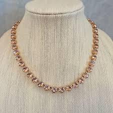 swarovski necklace set images Blush swarovski crystal rose gold princess length necklace set jpg