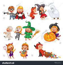 happy halloween funny little children colorful stock vector