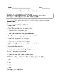 this that these those demonstrative pronouns worksheet
