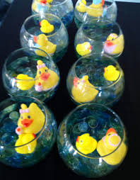 duck decorations table decor mancala water and rubber ducks in a glass