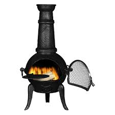 exterior cast black iron chiminea for antique outdoor fireplace