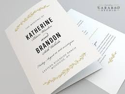 folded wedding program wedding program printable folded wedding program digital flat