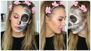 half halloween makeup easy half skull halloween makeup tutorial 2016 youtube