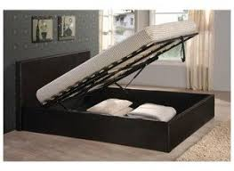 black 4ft6 double storage ottoman gas lift up bed frame tigerbeds
