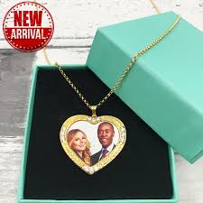 Personalized Photo Necklace Heart Shaped Necklace Gold Heart Pendant With Picture Personalized