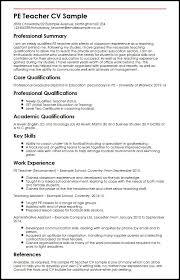 pe teacher cv sample myperfectcv