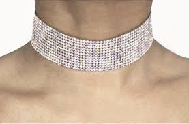 rhinestone choker collar necklace images Iridescent medium thick rhinestone choker jpg