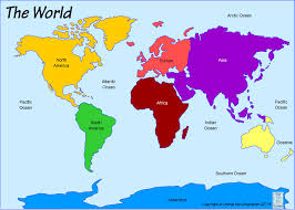 Map Of Oceans World Map Continents And Oceans Seas Colorful Detail With In