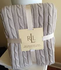 Ralph Lauren Blankets New Ralph Lauren Taupe Light Grey Cotton Cable Knit Throw Blanket