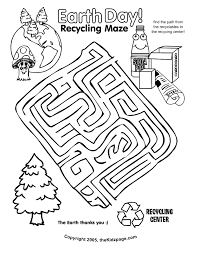 earth recycling maze activity sheet free coloring pages