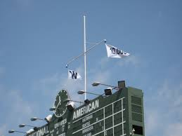 Cubs Flag File Cubs 10 000 Win Flag From Inside Wrigley Jpg Wikimedia Commons