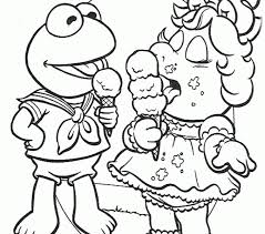 piggy coloring pages muppet babies kermit frog