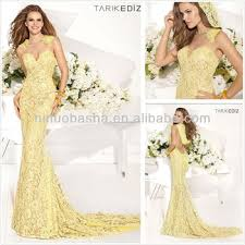 yellow jewel neck backless lace mermaid formal evening