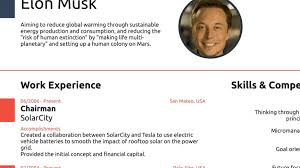 Famous Resumes Elon Musk Proves You Never Need A Cv Longer Than One Page
