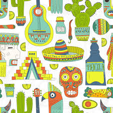 seamless vector pattern with hand drawn mexican elements guitar