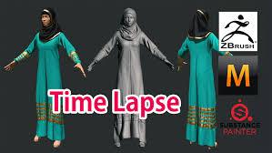 Muslim Halloween Costume 3d Female Muslim Dress Zbrush Marvelous Designer