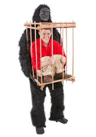Carrying Halloween Costume Gorilla Carrying Man Cage Costume Funny Costumes
