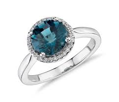 blue topaz engagement rings london blue topaz and diamond halo ring in 14k white gold
