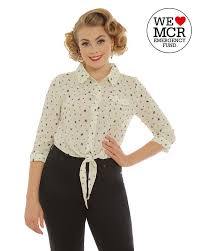 tie front blouse bee print tie front blouse in vintage inspired fashion