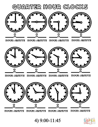 quarter hours clocks 9 00 11 45 coloring page free printable