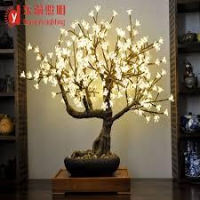 high simulation home decor artificial bonsai warm white cherry
