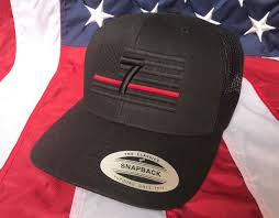 Embroidered American Flag Free Personalization Thin Red Line Hat Station Fire Fighter