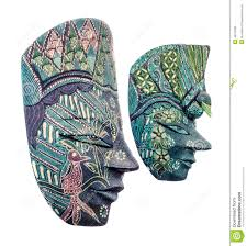 vivid colored african masks male and female halloween mask close