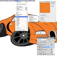 how to draw ink and colour a cartoon car in adobe photoshop