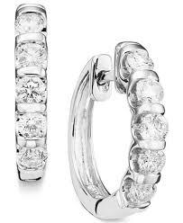 white gold diamond hoop earrings channel set diamond hoop earrings in 14k white gold 1 ct t w