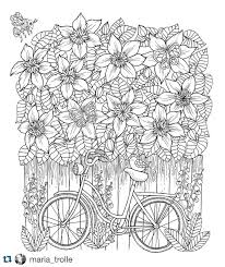 bike and clematis from my upcoming coloring book mariatrolle