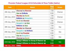 b premier league table premier futsal league 2016 schedule time table india youtube
