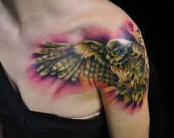 Owl Shoulder - 56 best flying owl tattoos