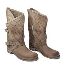 tan biker boots summer biker boots perforated in genuine elefant leather made in italy