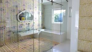 white luxury bathroom design feature box clear glass door shower